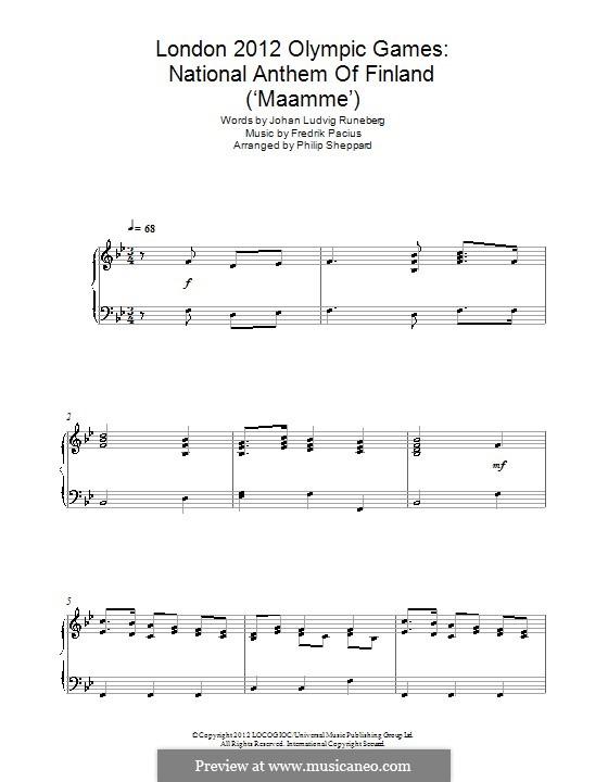 Maamme (Finnish National Anthem): Für Klavier by Fredrik Pacius