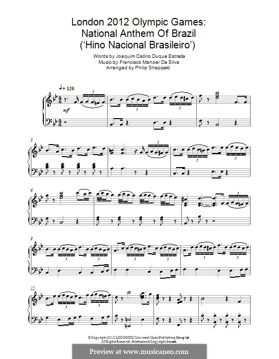 Brazilian National Anthem: Für Klavier by Francisco Manuel da Silva
