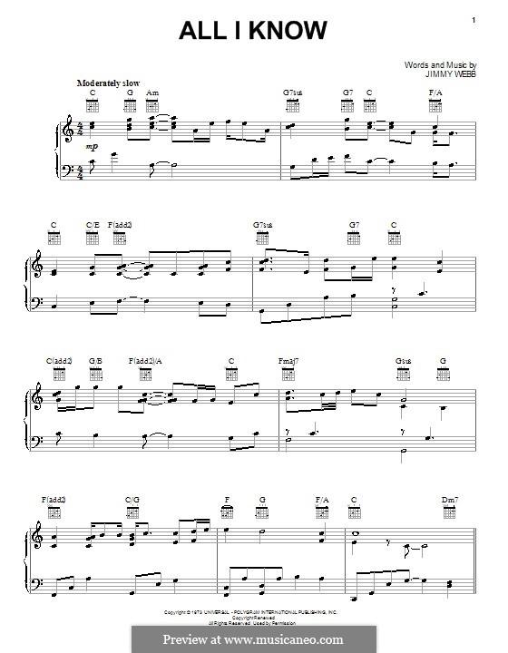 All I Know (Five for Fighting): Für Stimme und Klavier (oder Gitarre) by Jimmy Webb