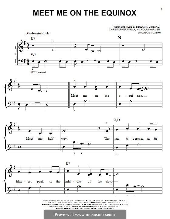 Meet Me on the Equinox (Death Cab for Cutie): Für Klavier by Benjamin Gibbard, Christopher Walla, Jason McGerr, Nicholas Harmer