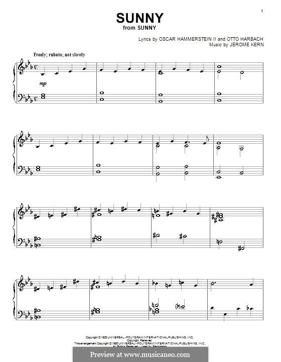 Sunny: Für Klavier by Jerome Kern