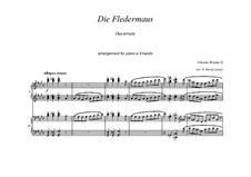 Die Fledermaus: Overture for piano four hands by Johann Strauss (Sohn)
