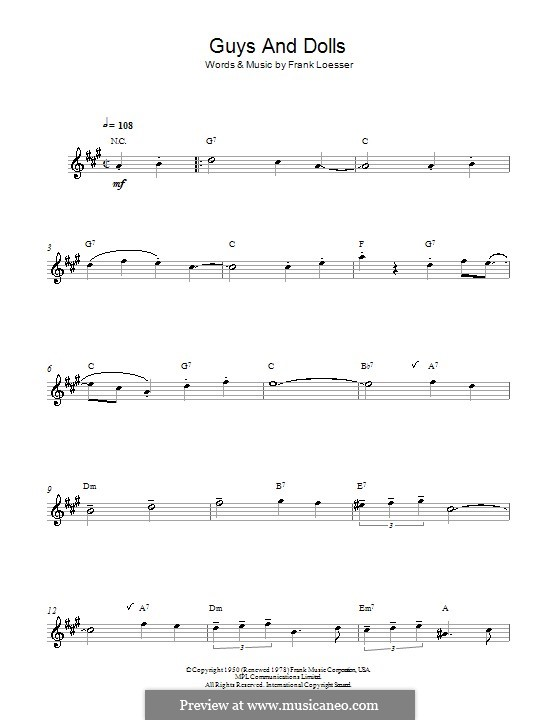 Guys and Dolls: Für Altsaxophon by Frank Loesser