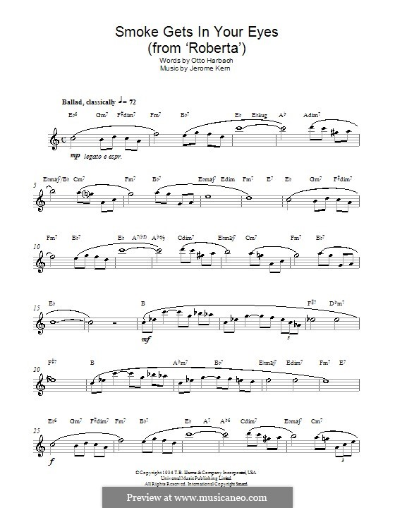 Smoke Gets in Your Eyes (from 'Roberta'): Für Altsaxophon by Jerome Kern