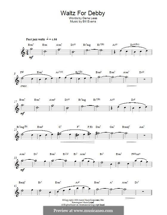 Waltz for Debby: Für Altsaxophon by Bill Evans