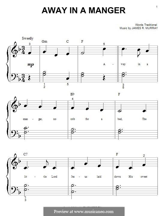 Away in a Manger (Printable Scores): Für Klavier by James R. Murray
