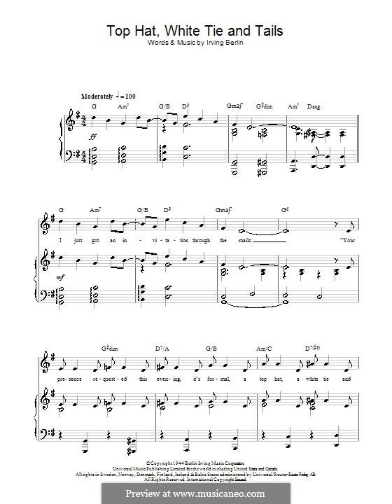Top Hat, White Tie and Tails (Fred Astaire): Für Stimme und Klavier (oder Gitarre) by Irving Berlin