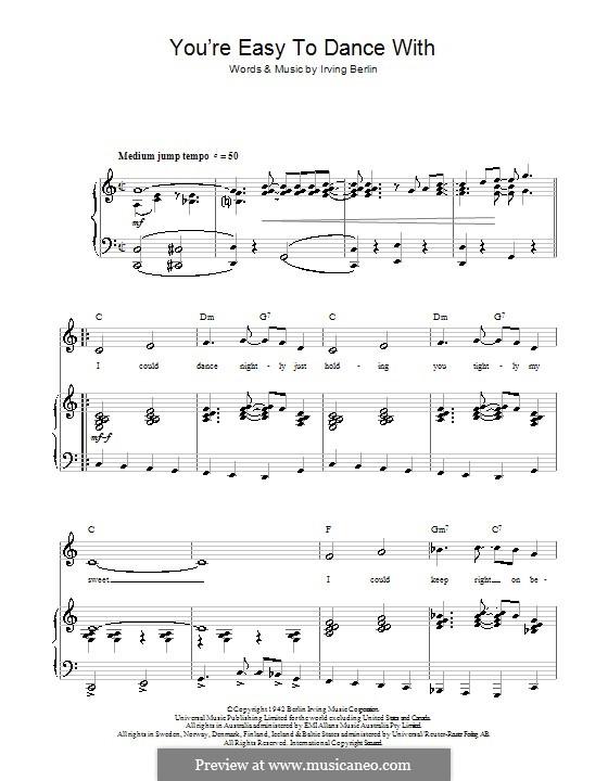 You're Easy To Dance With (Top Hat Cast): Für Stimme und Klavier (oder Gitarre) by Irving Berlin