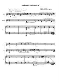 Nr.8 Das Mädchen mit dem flachsfarbenen Haar: For flute, violin and piano by Claude Debussy