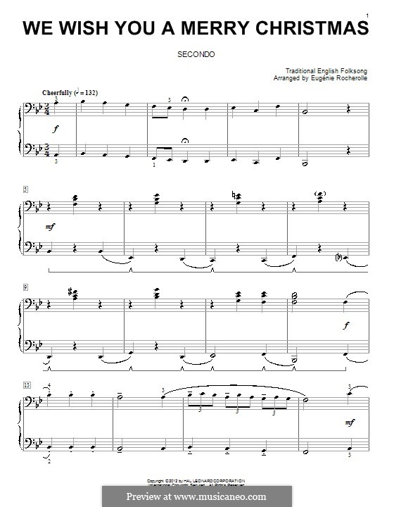We Wish You a Merry Christmas, for Piano: Version for four hands by folklore