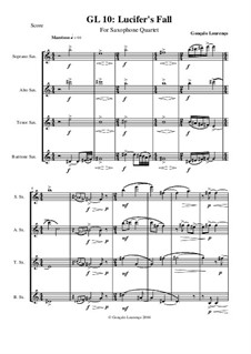 Lucifer's fall, for Saxophone Quartet, GL10: Lucifer's fall, for Saxophone Quartet by Gonçalo Lourenço
