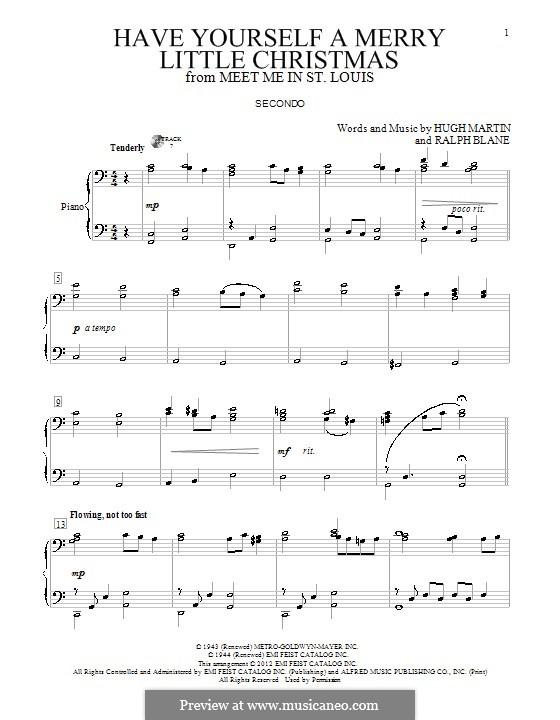Have Yourself a Merry Little Christmas: Für Klavier, vierhändig by Hugh Martin, Ralph Blane
