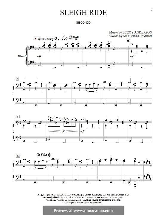 Sleigh Ride: Für Klavier, vierhändig by Leroy Anderson