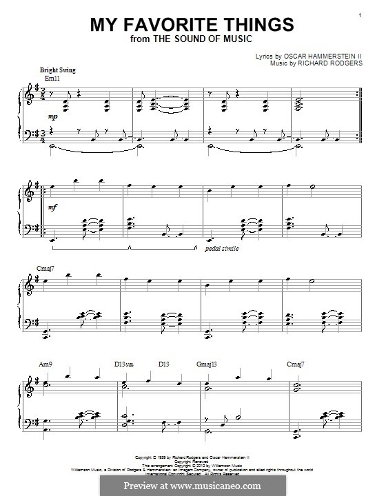 My Favorite Things (from The Sound of Music), for Piano: Version für leichtes Klavier by Richard Rodgers
