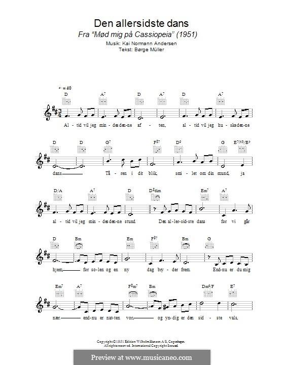 Den Allersidste Dans: Lead sheet by Kai Normann Andersen
