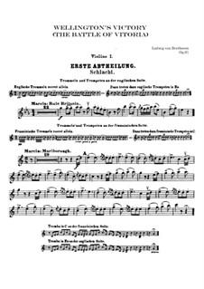 Wellingtons Sieg, oder die Schlacht bei Vittoria, Op.91: Violinstimme I by Ludwig van Beethoven
