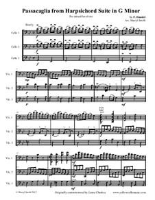Suite Nr.7 in g-Moll, HWV 432: Passacaglia, for mixed-level trio (three cellos) by Georg Friedrich Händel