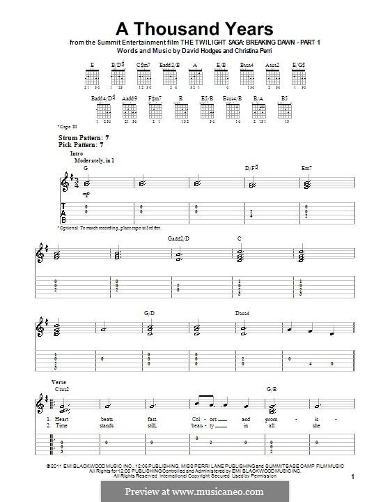 A Thousand Years: Für Gitarre mit Tabulatur by Christina Perri, David Hodges