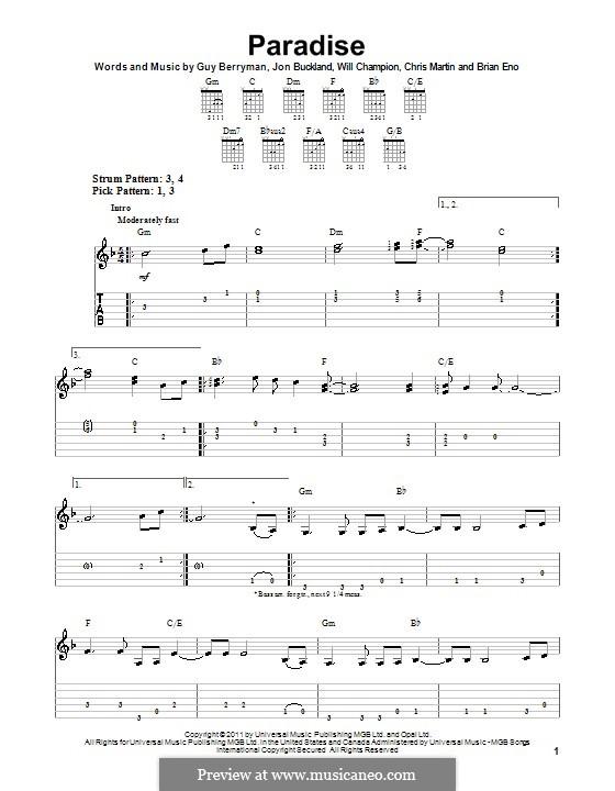 Paradise (Coldplay): Gitarrentabulatur by Brian Eno, Chris Martin, Guy Berryman, Jonny Buckland, Will Champion