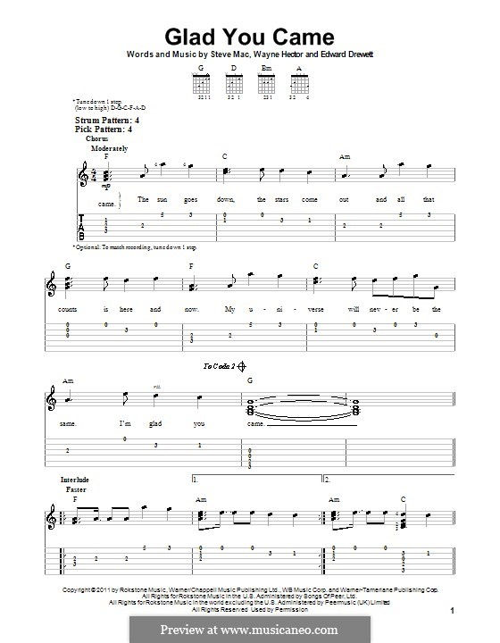 Glad You Came (The Wanted): Gitarrentabulatur by Ed Drewett, Steve Mac, Wayne Anthony Hector