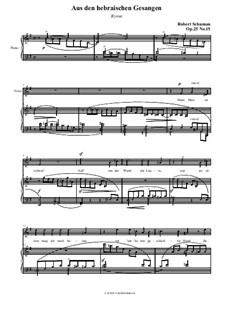 Nr.15 Aus den hebräischen Gesängen: Klavierauszug mit Singstimmen (auf Deutsch) by Robert Schumann