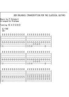 Erlkönig, D.328 Op.1: Transcription for classical guitar (guitar tab) by Franz Schubert