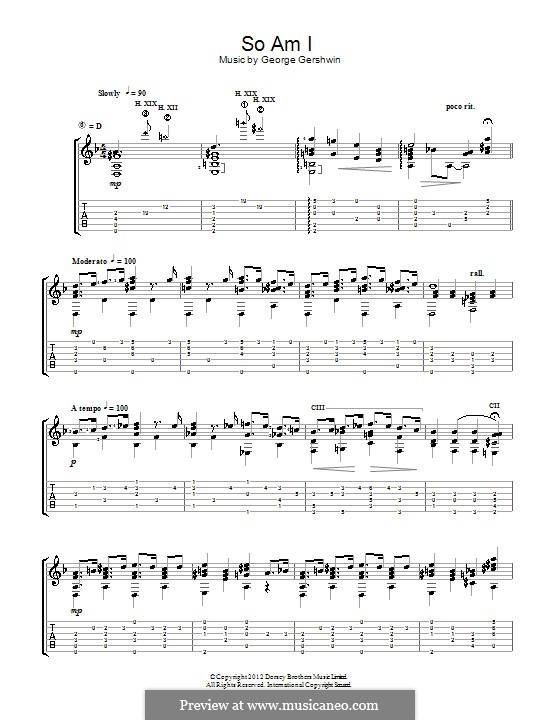 So am I: For guitar with tab (Jerry Willard) by George Gershwin