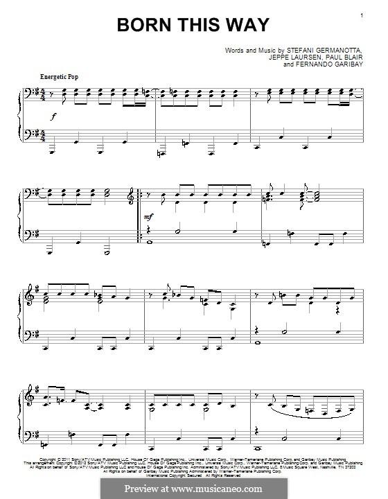 Born This Way: Für Klavier by Fernando Garibay, Jeppe Laursen, Paul Blair, Stefani Germanotta