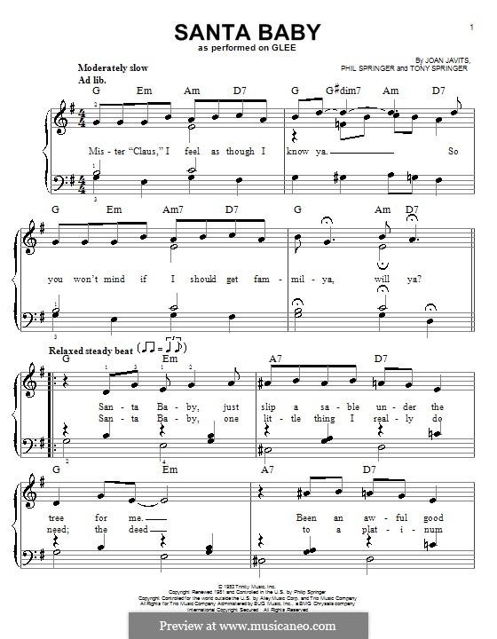 Santa Baby (Eartha Kitt): Für Stimme mit Klavier oder Gitarre (Glee Cast) by Joan Javits, Philip Springer, Tony Springer
