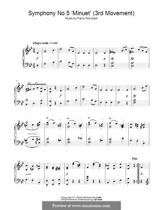 Sinfonie Nr.5 in B-Dur, D.485: Teil III (Thema). Version für Klavier by Franz Schubert