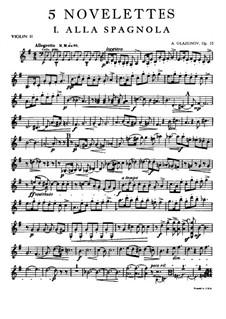 Fünf Noveletten für Streichquartett, Op.15: Violinstimme II by Alexander Glazunov