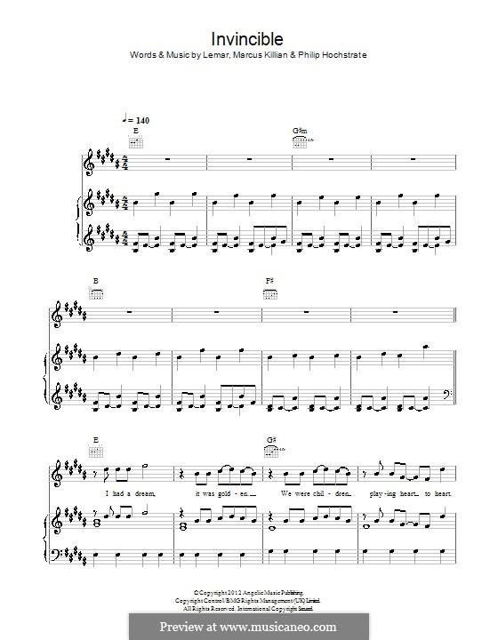 Invincible: Für Stimme und Klavier (oder Gitarre) by  Lemar, Marcus Killian, Philip Hochstrate