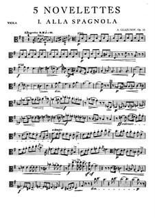 Fünf Noveletten für Streichquartett, Op.15: Violastimme by Alexander Glazunov