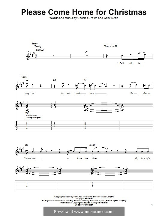 Please Come Home for Christmas (The Eagles): Für Gitarre mit Tabulatur by Charles Brown, Gene Redd