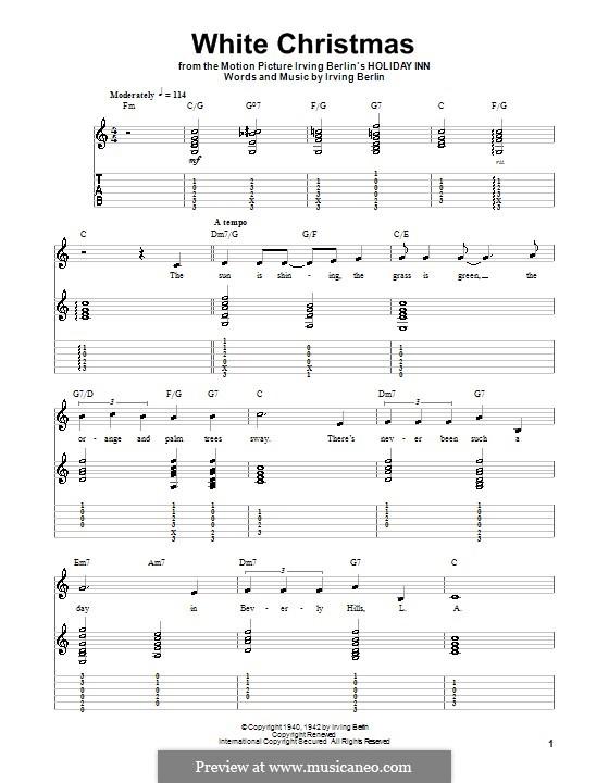 White Christmas. Instrumental version: Für Gitarre mit Tab by Irving Berlin