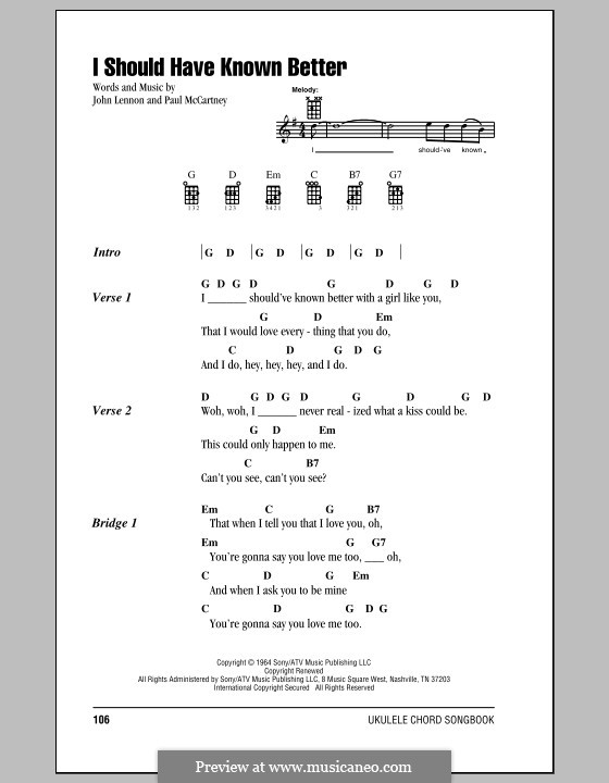 I Should Have Known Better (The Beatles): Für Ukulele by John Lennon, Paul McCartney