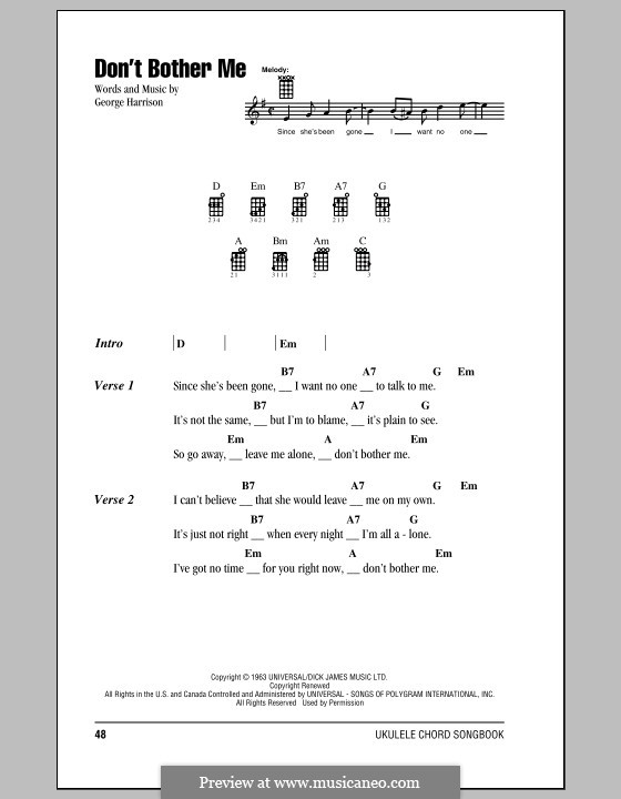 Don't Bother Me (The Beatles): Für Ukulele by George Harrison