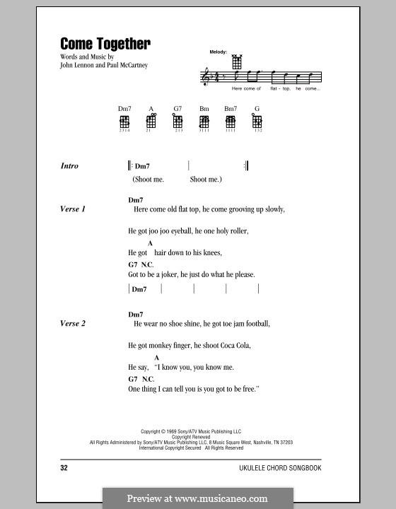 Come Together (The Beatles): Für Ukulele by John Lennon, Paul McCartney