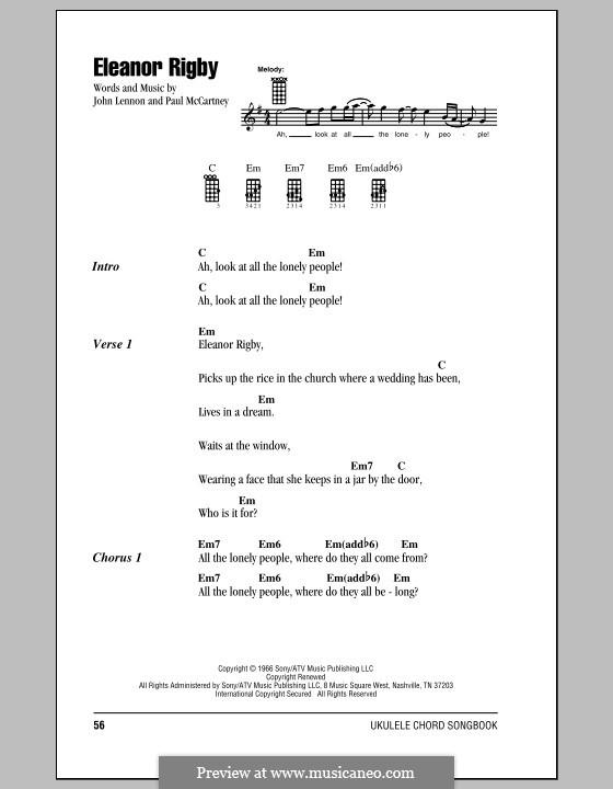 Eleanor Rigby (The Beatles): Für Ukulele by John Lennon, Paul McCartney
