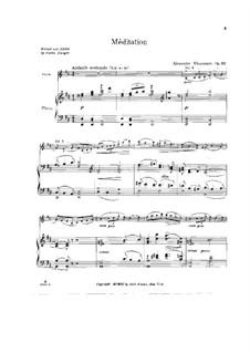 Meditation für Violine und Orchester, Op.32: Bearbeitung für Violine und Klavier by Alexander Glazunov