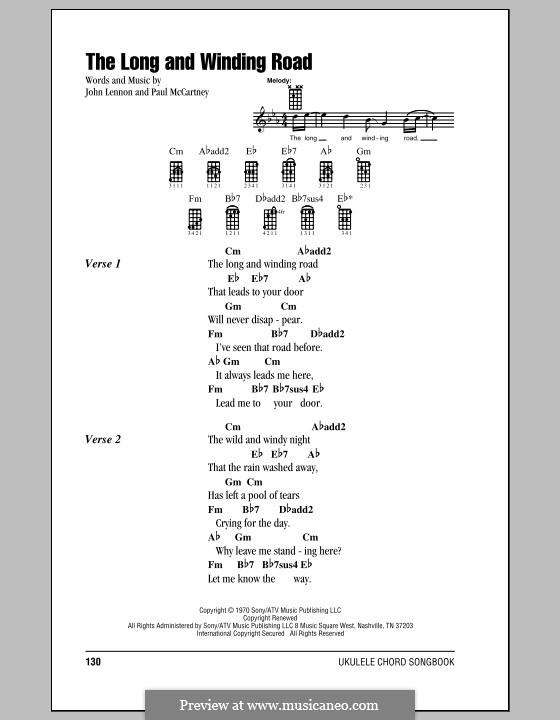 The Long and Winding Road (The Beatles): Für Ukulele by John Lennon, Paul McCartney