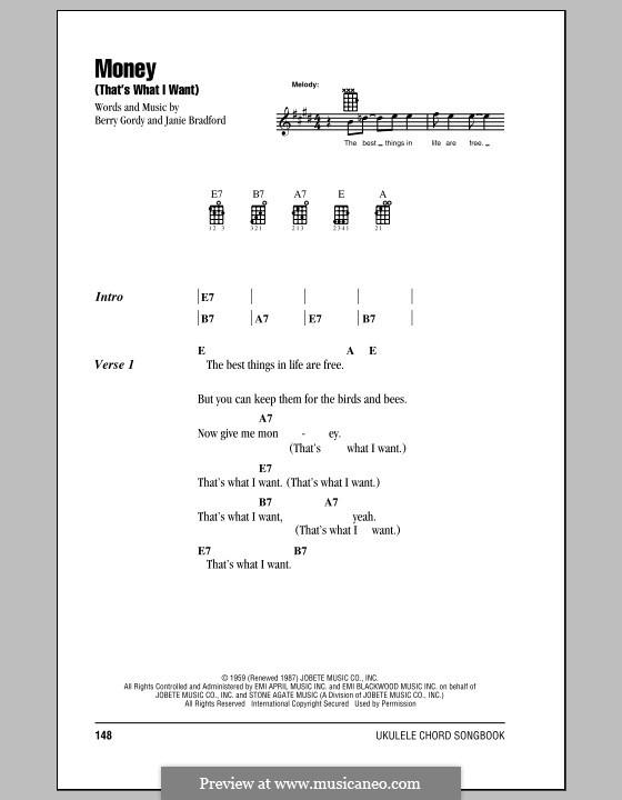 Money (That's What I Want): Für Ukulele by Berry Gordy, Janie Bradford