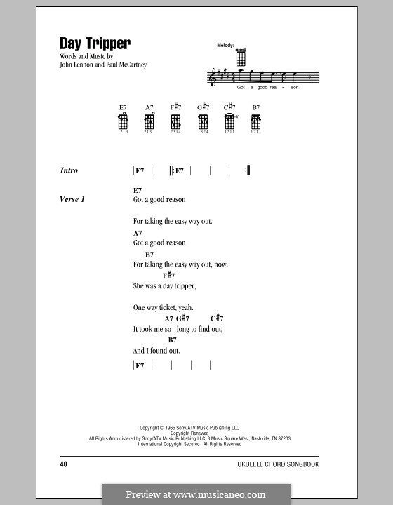 Day Tripper (The Beatles): Für Ukulele by John Lennon, Paul McCartney