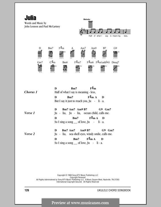 Julia (The Beatles): Für Ukulele by John Lennon, Paul McCartney