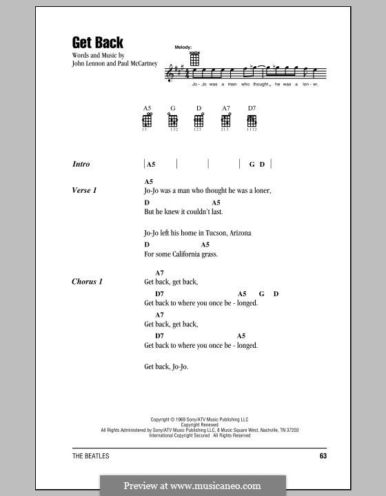 Get Back (The Beatles): Für Ukulele by John Lennon, Paul McCartney