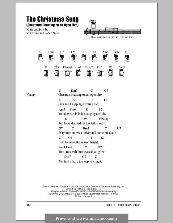 The Christmas Song (Chestnuts Roasting on an Open Fire): Für Ukulele by Mel Tormé, Robert Wells