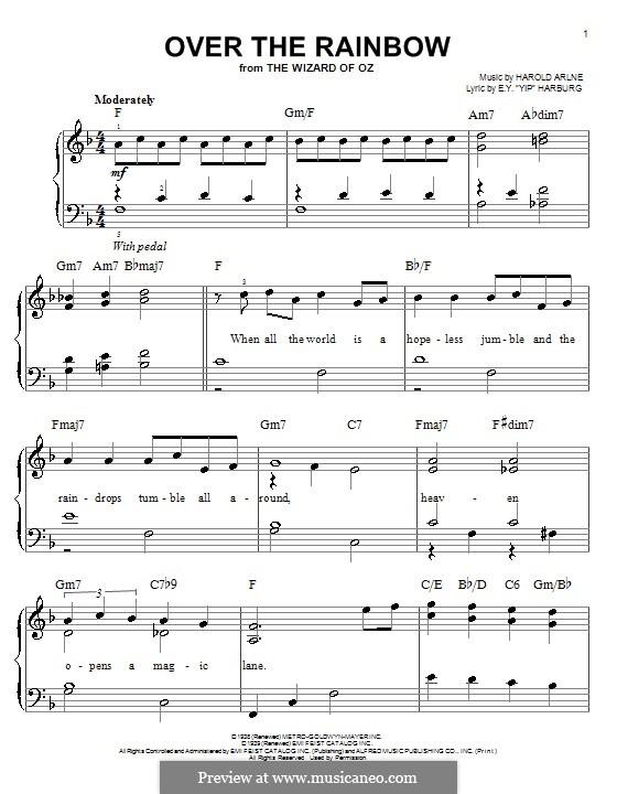 Over the Rainbow (from The Wizard of Oz): Für Klavier (F-Dur) by Harold Arlen