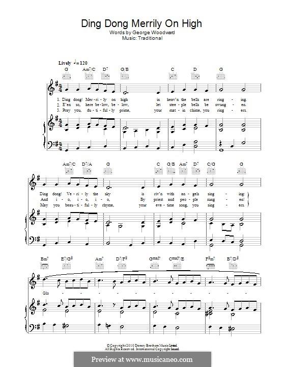 Ding Dong! Merrily on High (Printable Scores): Für Stimme und Klavier (oder Gitarre) by folklore
