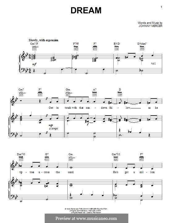 Dream (Frank Sinatra): Für Stimme und Klavier (oder Gitarre) by Johnny Mercer