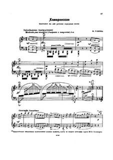 Kamarinskaya: Für Klavier by Michail Glinka